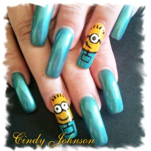 Cartoon Minions Nail Art