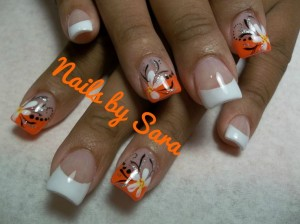 Playfull Orange Nail Design