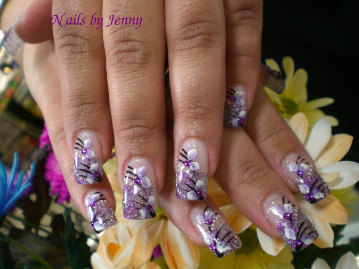 Purple Flower Spring Nail Art