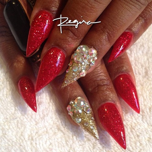 Stiletto Nail Art With Diamonds: Nail Art Design From CoolNailsArt