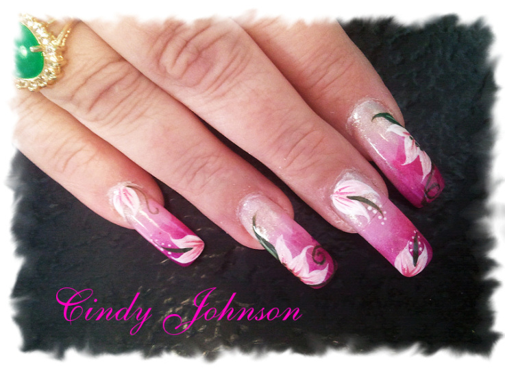 Water painting floral nail Art Design