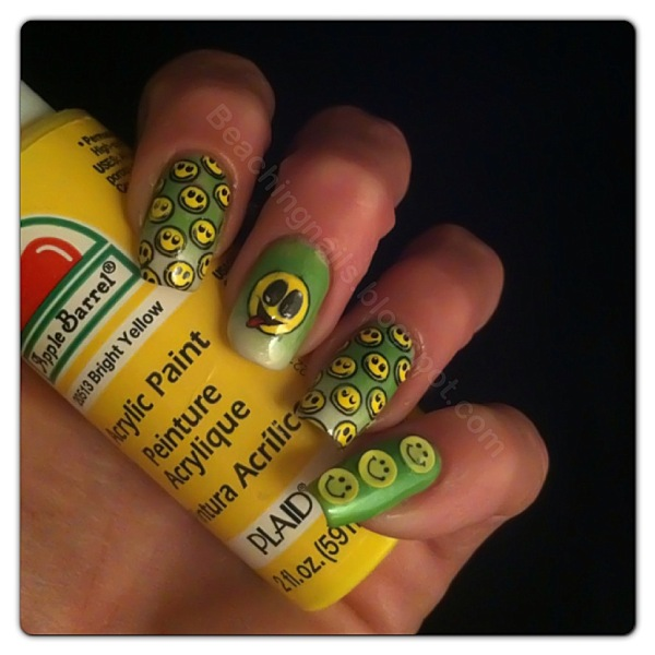Yellow Smile Face Nail Art