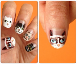 Cat and Kitty Face Nail Art