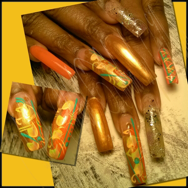 Long Golden Brown Long Nail With Design