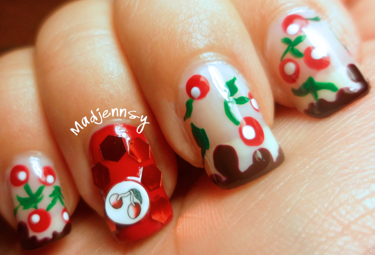Cherry and Chocolate Nail Art