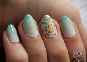 Gold Foil Gradient Nail Art