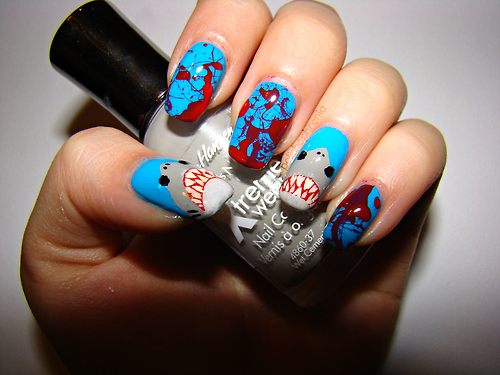 Shark Attack Nail Art