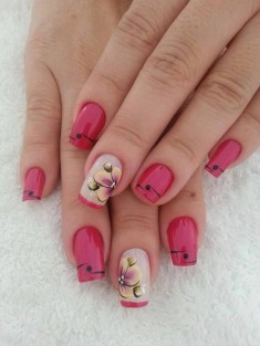 Water color flower on pink nail