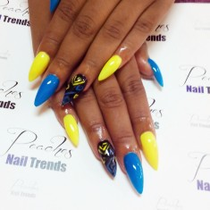 Hippy Colors Stiletto Nail Design