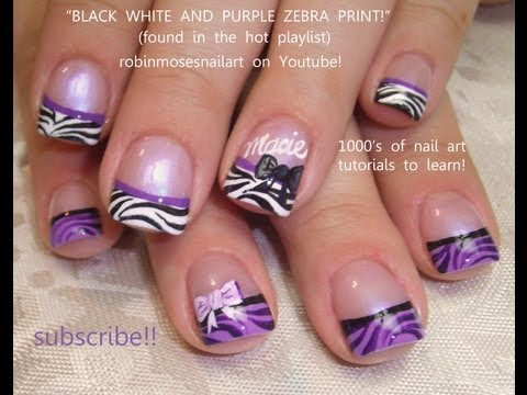 DIY at Home Nail Design Purple zebra