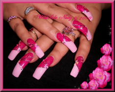 Light and Dark Pink Acrylic Nail Design
