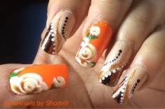 One stroke orange roses in glittered foil manicure nail art tutorial