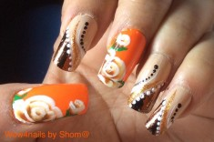 One stroke roses in glitterd foil manicure nail art   u can watch the video by clicking on the l ...